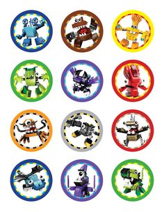 "Lego Mixel Party.  Lego Mixels 2"" diameter character labels - for standard Avery 8.5 x 11 label sheets."
