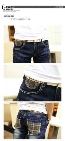 Street fashion blue cotton plaid crinkling straight jeans – teeteecee - fashion in style Jeans Pants, Denim Shorts, Street Fashion, Plaid, Street Style, Cotton, Blue, Women, Flare Leg Jeans