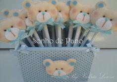 Lápis com Ponteira ursinho em feltro  Embalados individualmente e com tag personalizada  Pedido mínimo 20 unidades  Grátis cachepô em MDF decorado acima de 30 unidades  Faço em outras cores