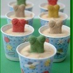 Home made Frosty Paws - 3 six-oz containers yogurt 1/2 cup peanut butter