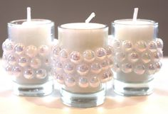 15 Miniature Rainbow Pearl Votive Candles by ThenGcreations