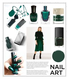 """""""Wintery Green Nail Polish"""" by cinnamonbelle ❤ liked on Polyvore featuring beauty, Smith & Cult, Burberry, Liberty and Deborah Lippmann"""