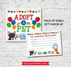 Pet adoption center sign Pet adoption certificate Pet