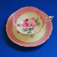 Paragon Pink Rose Tea Cup and Saucer Fine Bone China HM Queen and HM Queen Mary Mark