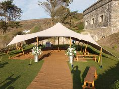 Stretch tent for a Cornish cliff top wedding