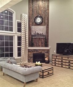 wood plank fireplace surround - Google Search | Fireplace ideas ...