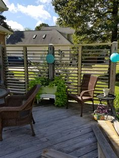 Four Section Louvered Privacy Wall Using FLEXfence