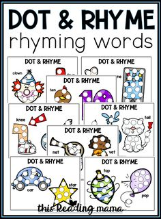 20 Rhyming Dot Pages: Dot & Rhyme - This Reading Mama Fine Motor Activities For Kids, Rhyming Activities, Preschool Learning Activities, Preschool Printables, Kindergarten Literacy, Hands On Activities, Literacy Centers, Kids Learning, Fluency Games