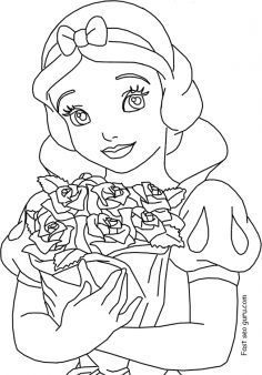 Free Printable Disney Princess Snow White Coloring Pages For Girls