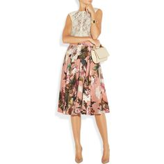 Dolce Gabbana Rose-print crepe circle skirt (€1.495) ❤ liked on Polyvore featuring skirts, multi color skirt, skater skirt, crepe skirt, red circle skirt and red knee length skirt