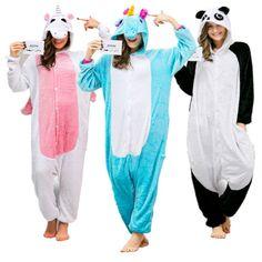 Kigurumi Unicorn Onesie Adult Pajamas Footed Pyjamas for Adults Women Unicornio Onesies Pijamas Enteros de Animales Funny Onsie