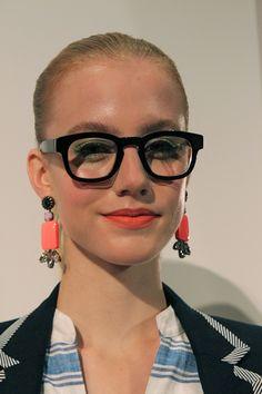 nerdy glasses + dangly earrings at j.crew spring 2013