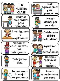 In Our Classroom: Classroom Expectations in English and Spanish. This is a set of cards to be printed and displayed in the classroom. There are 15 cards in English and the same 15 cards in Spanish. Dual Language Classroom, Bilingual Classroom, Bilingual Education, Classroom Rules, Spanish Classroom Decor, Spanish Teacher, Teaching Spanish, Teaching French, Beginning Of School