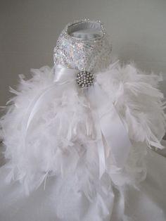 "White Snow Flake  Princess Dog Dress  with Swarovski Crystals  By Nina's Couture Closet ""Exclusive  Line Bella "". $130.00, via Etsy."