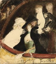 DANS LA LOGE ; THE BOX, 1898 by Georges Bottini (French 1874-1907) ; PEN AND WASH, WATERCOLOUR HEIGHTENED WITH GOUACHE ON PAPER(1764×2000) Gouache, Pen And Wash, French Art, Logs, Impressionist, Staging, Night Life, Modern Art, Watercolor