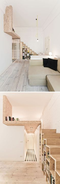 13 Stair Design Ideas For Small Spaces  The stairs along the side wall of this apartment are thin enough that they hardly take up any space, but the space that they do take up is made more functional with the inclusion of storage spaces.