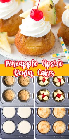 These 7 ingredient mini pineapple upside down cakes made in a muffin pan are a great party dessert to feed a crowd! Pineapple upside down cupcakes start with a box mix, take them to the next level with fresh garnishes. Easy Cake Recipes, Cupcake Recipes, Cupcake Cakes, Dessert Recipes, Mini Cakes, Yummy Recipes, Recipies, Mini Pineapple Upside Down Cakes, Best Nutrition Food