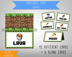 Minecraft Printable Food Tent Cards