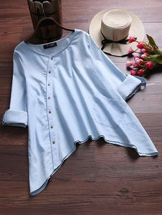 O-NEWE Elegant Irregular Hem Blouses with Pocket can cover your body well, make you more sexy, Newchic offer cheap plus size fashion tops for women. Pakistani Dresses Casual, Indian Fashion Dresses, Girls Fashion Clothes, Fashion Outfits, Stylish Dresses For Girls, Stylish Dress Designs, Girls Dresses Sewing, Girls Frock Design, Shirt Design For Girls