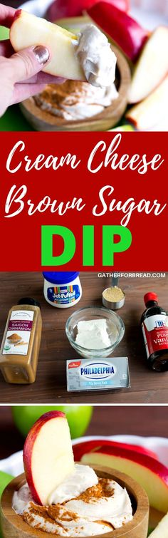 Cream cheese Brown Sugar Dip  - Easy fluffy apple dip appetizer made with cream cheese brown sugar and marshmallow fluff for a simple fall snack.