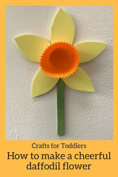 Kids Crafts: How to make a cheery Daffodil flower - HodgePodgeDays - Crafts for kids - Kids Crafts: How to make a cheery Daffodil flower With the first signs of spring slowly making an a - Daffodil Craft, Daffodil Flower, Daffodil Tattoo, Spring Crafts For Kids, Crafts For Kids To Make, Spring Flowers Art For Kids, Kids Arts And Crafts, Simple Crafts For Kids, Paper Flowers For Kids