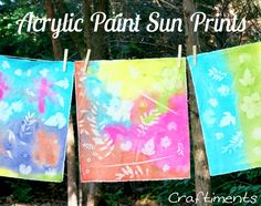 Craftiments: Learn how to make faux sun prints on fabric using regular acrylic craft paint. The finished prints could be turned into all kinds of decor. Crafts To Do, Crafts For Kids, Arts And Crafts, Summer Crafts, Summer Art, Party Summer, Summer Ideas, Summer Time, Atelier Photo