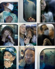 © Michael Wolf - Tokyo Compression photography, portraits, crowded trains, modern artist Through framing the people within the train windows we get a sense of the lack of space and how uncomfortable it must be. Wolf Photography, Street Photography, Portrait Photography, Photography Training, People Photography, Michael Wolf, U Bahn, A Level Art, Modern Artists