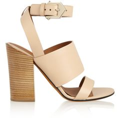 Givenchy Sara sandals in beige leather, Women's, Size: 39.5 ($660) ❤ liked on Polyvore featuring shoes, sandals, heels, givenchy, famous footwear, genuine leather shoes, leather sandals and real leather shoes