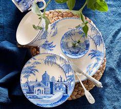 16-Piece Blue and White Chinoiserie Dinnerware Set