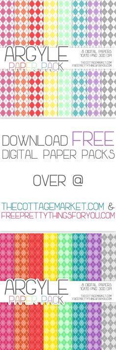 Free Argyle Digital Scrapbooking Paper Pack - The Cottage Market
