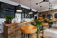 Matt black, wood, white tile and brick.  Bar by Kley Design Kiev Ukraine 02 Bar by Kley Design, Kiev   Ukraine