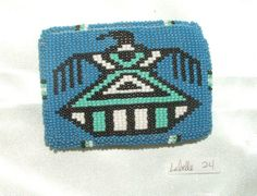 "Belt Buckle Native American Beadwork Blue Thunderbird 3.5x2.5"" Loom woven beadwork tightly sewn over a sturdy cast metal buckle to a leather backing. Classic thunderbird design.  Native American made. #beltbuckle #nativeamerican #thunderbird"