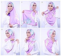 Beautiful Floral Hijab Wrap Pictorial - Hijab Fashion Inspiration This is an ea. Beautiful Floral Hijab Wrap Pictorial – Hijab Fashion Inspiration This is an easy and quick hija Square Hijab Tutorial, Hijab Style Tutorial, Scarf Tutorial, Simple Hijab, Hijab Casual, Hijab Chic, Hijab Fashion 2016, Muslim Fashion, Fashion 2020