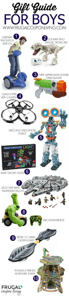 The Ultimate Gift Guide for Boys including Thomas the Train, LEGOs, Hulk Smash Vehicle, Quadcopter with Camera, Ripstick and more!