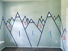 Kids Bedroom Designs, Baby Room Design, Baby Room Decor, Kids Room Murals, Kids Room Paint, Geometric Mountain, Geometric Wall, Ideas Dormitorios, Mountain Mural