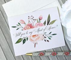 Watercolor Cards, Floral Watercolor, Watercolor Projects, Watercolor Painting, Birthday Card Drawing, Wedding Congratulations Card, Bridesmaid Proposal Cards, Will You Be My Bridesmaid, Pretty Cards
