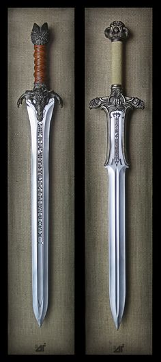 Albion Armorers replica Conan The Barbarian Swords. Hand sharpened by Jody Samson