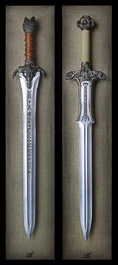 The Father's Sword & The Atlantean Sword – Conan the Barbarian Licensed Swords… – katana Swords And Daggers, Knives And Swords, Katana Swords, Espada Viking, Conan Der Barbar, Armas Ninja, Cool Swords, Templer, Conan The Barbarian