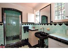Cheviot hills bath with original blue terra cotta tile art deco