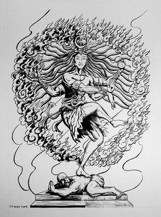 Shiva/Nataraja on Behance Shiva Linga, Shiva Shakti, Shiva Art, Hindu Art, Lord Shiva Sketch, Trishul Tattoo Designs, Shiva Tattoo Design, Rudra Shiva, Anubis Tattoo