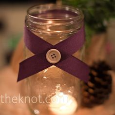 Simple and cute ~ These are a must-have. Green ribbon with purple flowers and white pearl buttons.