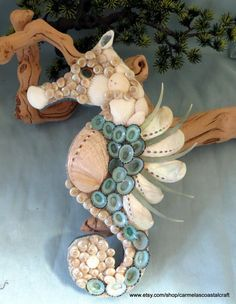 Sea shell sea horse wall art decor_Abalone and limpet shell sea horse_beach…