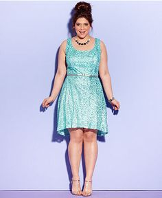 trixxi plus size dress, sleeveless sequin - junior plus dresses