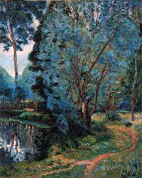 armand guillaumin: paysage boise à l'étang