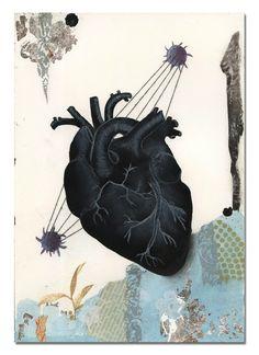 Birgit Zartl. My Black Rabbit Heart, 2013. Thread and silver leaf on paper.