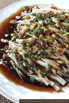 enoki mushrooms with garlic scallion soy sauce