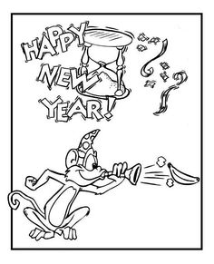 New Year Cute Monkey On Years Eve Celebration 2015 Coloring