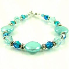 Aqua Blue Coin Pearl Beaded Bracelet by SylviaSwaseyDesigns