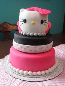 hello kitty...I made a 2 tier version for KK's 4th birthday.  This has been the easiest cake that I have decorated so far.