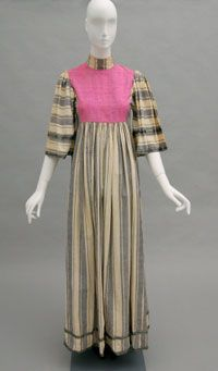 Woman's Dress    Made in England, Europe  c. 1970s    Designed by Thea Porter, British (born Jerusalem), 1927 - 2000    Off-white and gray striped cotton plain weave; hot pink silk plain weave; black and white silk braided trim